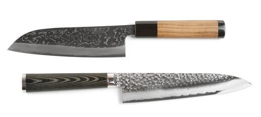 japanische Kochmesser Test mit schöner und einzigartiger Maserung und Verzierung