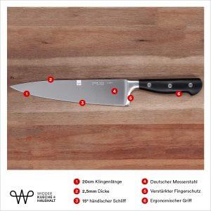 Das Produktbild mit den wichtigen Hinweisen zum Messer